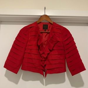 The Limited Red Ruffle Crop Jacket